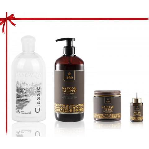 kit prodotti professionali con olio di argan e olio di alloro per trattamenti beauty dopo sauna